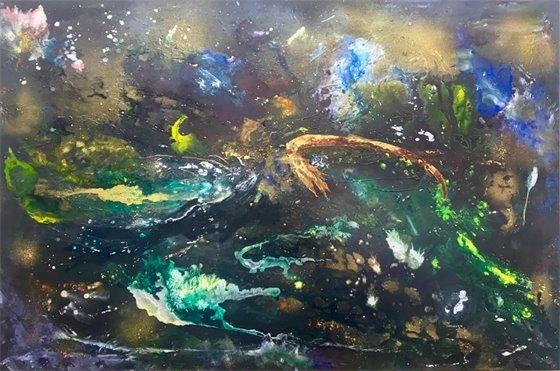 """Cosmos"" ink on canvas by Lynne Solomon"