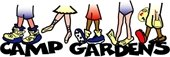 Camp Gardens logo with 5 sets of feet in different types of shoes