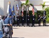 Police and Fire Department Honor Guard presenting the colors