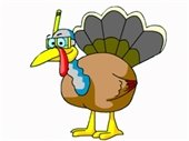a caricature of a turkey wearing a mask and snorkel