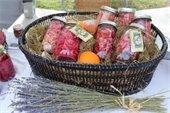 Jars filled with vegetables in a basket