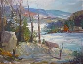 "An oil painting of a landscape entitled ""Snow in Vermont"""