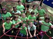 "Boys and girls standing inside a ""web"" on the playground"