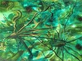 "Acrylic painting on paper by Rita Boutros, ""Root Threads"""