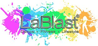 """LaBlast logo with paint splotches and text reading """"LaBlast: Dance - Fitness - Lifestyle"""""""