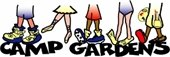 Camp Gardens logo of five sets of feet with different types of shoes