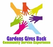 """Seven hands of different colors reaching into a circle; """"Gardens Gives Back"""""""