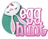"""An upside down bunny looking out of an egg next to """"egg hunt""""."""