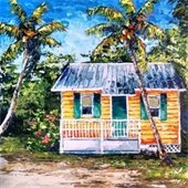 An acrylic painting of a beach cottage by Sarah La Pierre