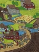 """Amish House Village"", colored pencil drawing by Mark Sanville"