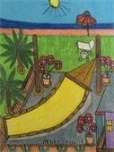 """Hammock, House & Backyard"" colored pencil drawing by Mark Sanville"