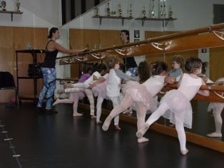 Young dancers with their teacher in a pose at the ballet barre