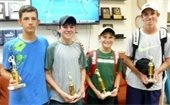 Four boys standing side by side holding tennis trophies.