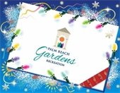 A gift card surrounded by holiday lights