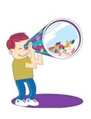 A cartoon of a boy holding a giant kaleidoscope