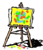A cartoon drawing of an art easel