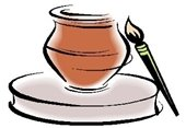A drawing of a clay pot on a potter's wheel with a paint brush