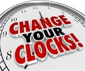 "A clock that says ""Change Your Clocks!"""