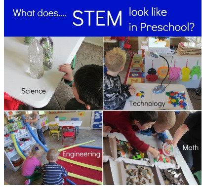 A collage of photos with young children doing Science, Technology, Engineering and Math