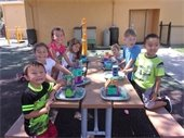 Boys and girls with their creations at STEM Camp