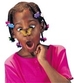 A girl with a butterfly on her nose