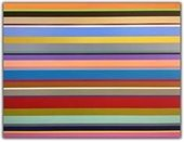 Abstract painting of multi-colored stripes by William Finlayson