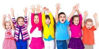 Seven toddlers holding their hands up in the air