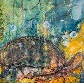 """Seeking"" - Acrylic and ink on canvas by Lynne Solomon"