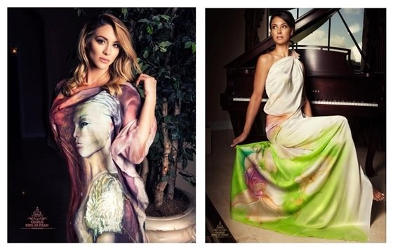 Two women wearing painting silk dresses by Violeta Lucce