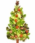 A variety of vegetables in the shape of a Christmas tree.