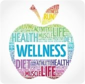 A health and wellness logo with words fitting into the shape of an apple.
