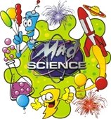 Mad Science logo with science-related items