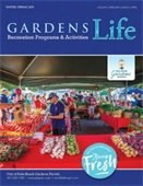 Cover of the Gardens Life brochure featuring a GreenMarket vendor selling produce
