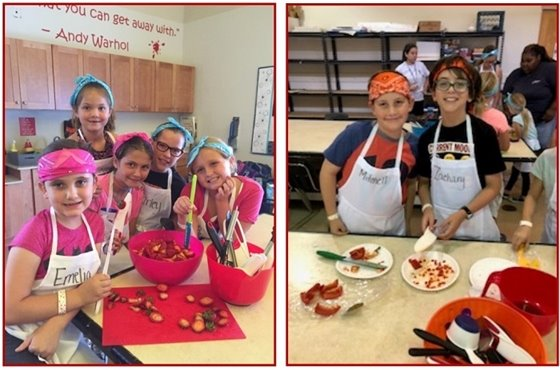 Two pictures of girls and boys wearing bandannas and cooking aprons.