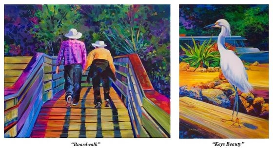 Two vibrant acrylic paintings by Donna Sallee
