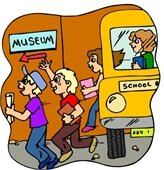 A cartoon image of kids getting off a school bus and going to a museum