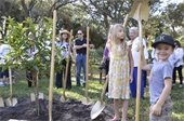 Jack and Lily Rager help with tree planting