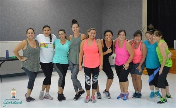 A group of women in the Zumba class.