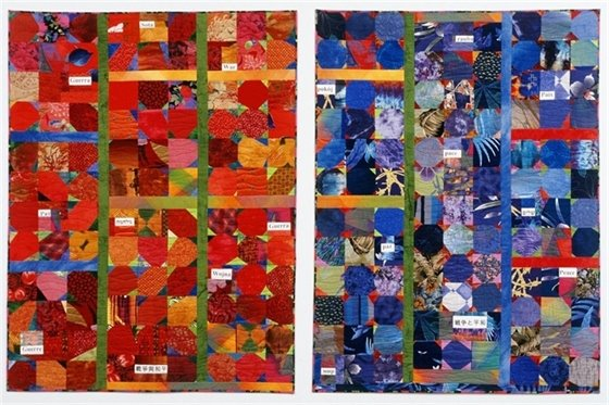"""""""Stitched in Cloth"""". two quilts made by Adrienne Yorinks"""