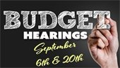 graphic depicting budget hearing dates