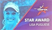 "A picture of a woman with the words ""USPTA Star Award: Lisa Pugliese"""