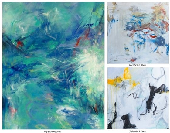 A collage of three abstract paintings by Patricia Schwimmer