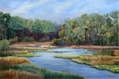 """Apalachicola Wetlands"" oil painting by Sue Appleton Dayton."