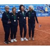 USA Doris Hart Cup players (left to right): Carol Wood, Dorothy Wasser, Sheila Palmer, Burnett Herrick