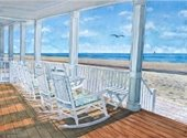 A painting of rocking chairs on a porch by the beach.