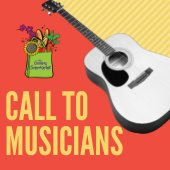 Call to musicians. GreenMarket logo. Picture of guitar.