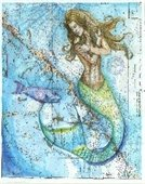 Mermaid painting by Carly Mejeur.