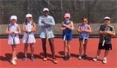 Youth tennis class photo.