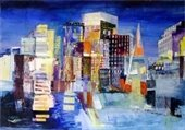 Painting of the San Francisco skyline by Kim Coker.