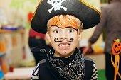 Boy dressed up like a pirate.